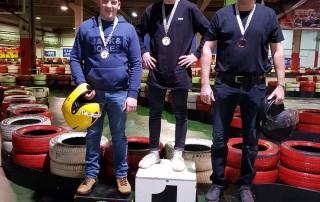 Die Sieger des Kart-Bahn-Rennens